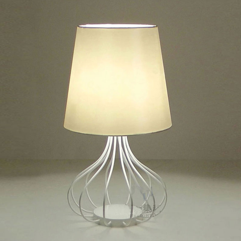 Modern Ikea Style Metal Fabric Table Lamp For Bedroom Living