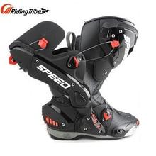 プロバイカーアップのオートバイ保護ブーツ速度マイクロファイバー革 Motorbotas 乗馬オートバイブーツ
