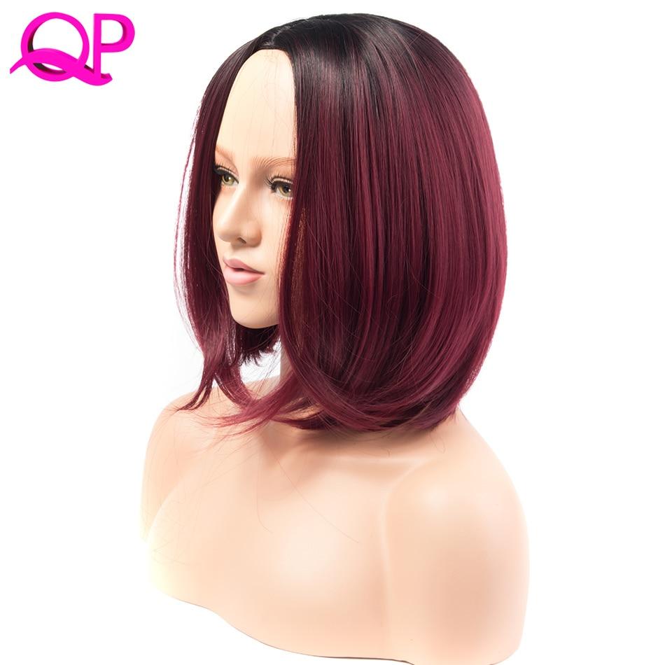 QP HAIR Syntetisk Short Burgundy Bob Ombre Röd Paryk Rett Ombre BUG Color Hair