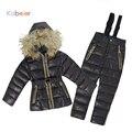 Rússia Inverno Conjuntos de Roupas Da Menina do Menino Do Bebê Menina Meninos de Esqui Conjunto terno Crianças Macacões de Pele Natural para inverno Jaquetas/Casacos + calças