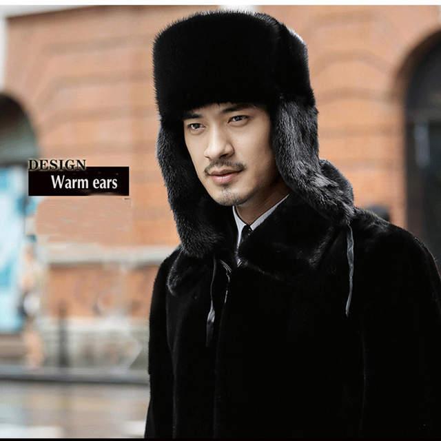 845ea280459 placeholder 2017 Russian Men Real Mink Fur Hats Winter Warm Ear Outdoor  luxury Caps Casual Fur Bomber
