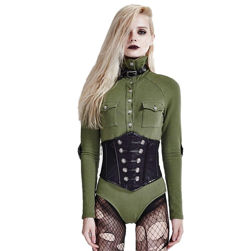 En Uniforme Combat Fitness Rétro Sexy Styel T Femmes Salopette De Cuir Punk À Militaire Slim shirt Vert Boutons Pour Gothique Manches Longues gxxBHwqR