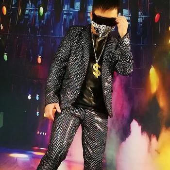 New Super Shiny Silver Dot Cool Suit Nightclub Hip Hop Stage Male Singer Ds Dj Costume Hairdresser Personality Blazer Men M-5xl