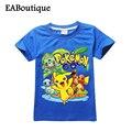 Algodão GO JOGO Dos Desenhos Animados POKEMON Pikachu PADRÃO Crianças meninos meninas roupas de verão camiseta de manga curta de varejo 1 pcs