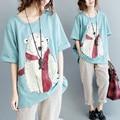 Plus Size 4XL 2017 Verão Mulheres Bonito Moda Algodão do Urso Polar encabeça Tee Senhora Fêmea Grande de Manga Curta Soltas T shirt Blusas Femme