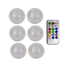 LED Under Cabinet Light RGB 12 Colors Dimmable Puck Battery powered Night lamp Closet Cupboard Showcase Wardrobe Kitchen