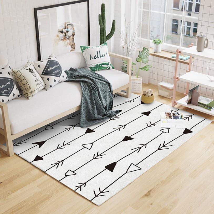 Nouveau INS maroc Style Beige blanc motif géométrique tapis de salon, pastorale décoration de la maison chambre tapis, tapis de sol nordique
