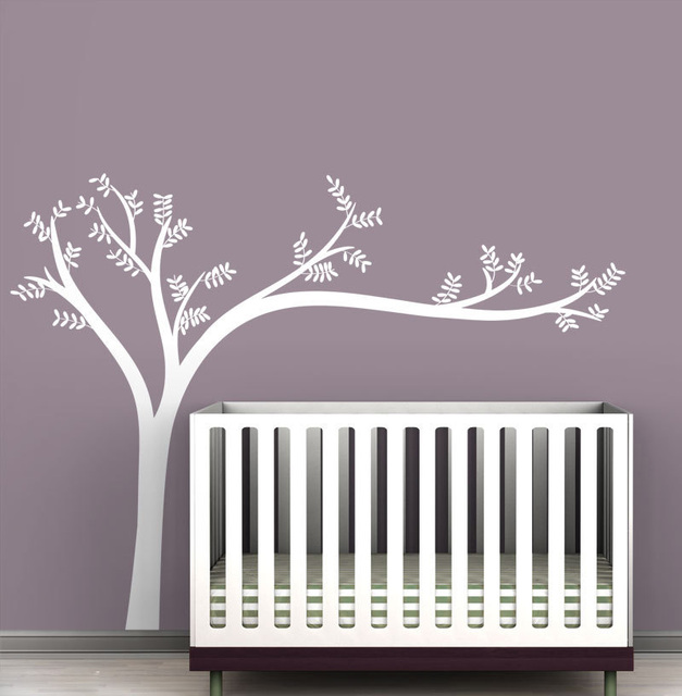 Monochromatic Leaning Tree Wall Decals For Modern Baby Rooms White Art Stickers Nursery Kids