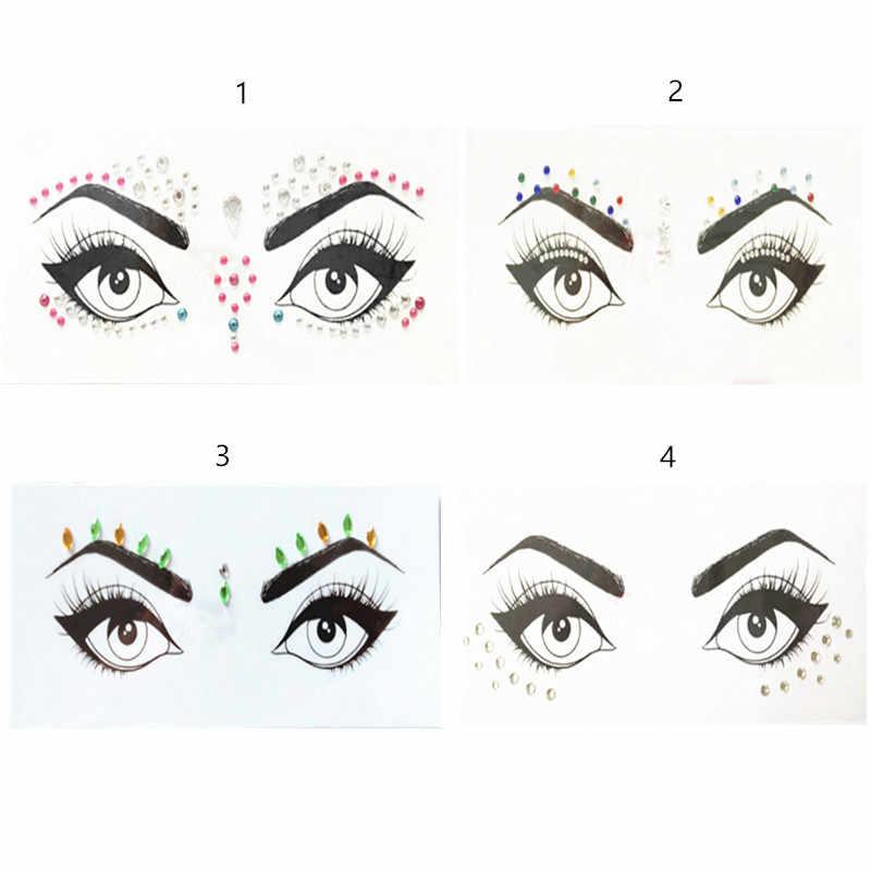 1pc Face Jewels Christmas Diy Eyebrow Body Art Adhesive Crystal Glitter Festival Party Eye Stickers Makeup Xmas Decor Aliexpress