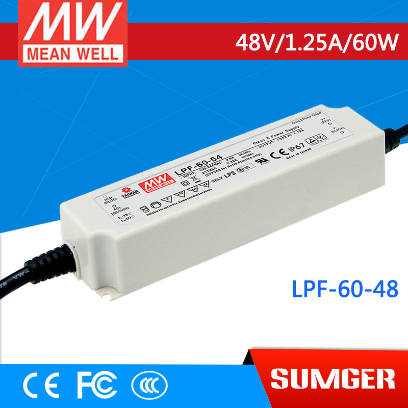 [NC-B] MEAN WELL original LPF-60-48 48V 1.25A meanwell LPF-60 48V 60W Single Output LED Switching Power Supply [mean well] original lpf 60d 30 30v 2a meanwell lpf 60d 30v 60w single output led switching power supply