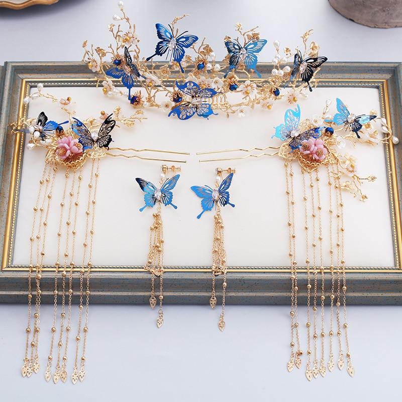 a46b3da15f2d JaneVini de lujo de estilo chino oro novia accesorios traje azul mariposa  horquilla con pendientes joyería de la boda accesorios para el cabello
