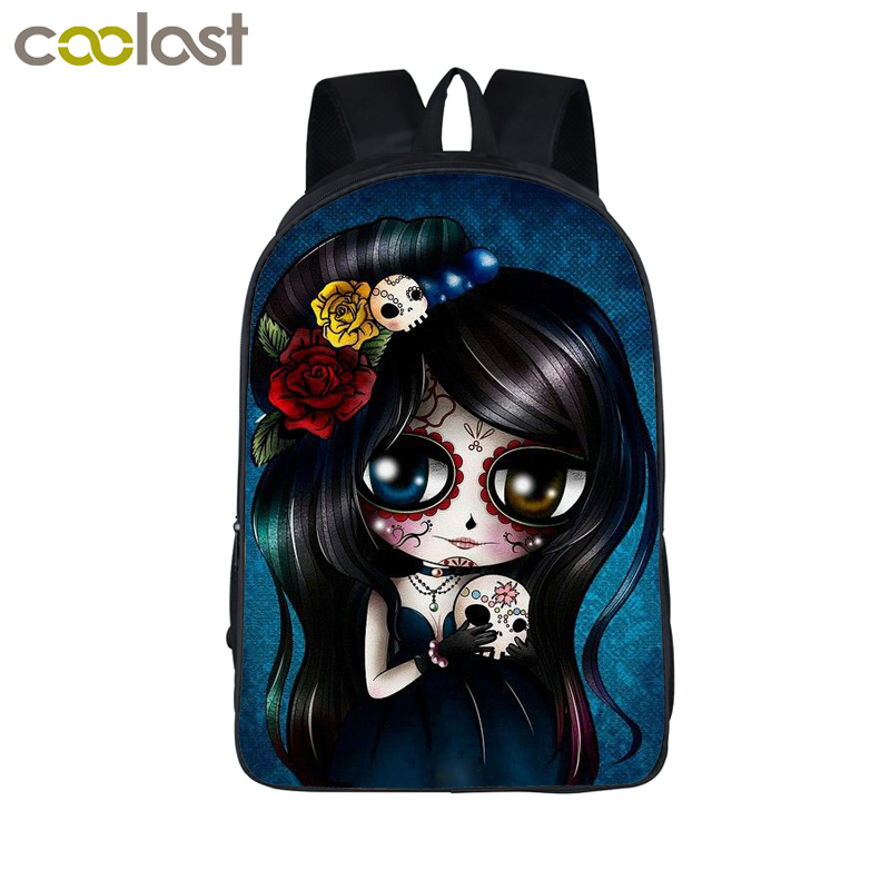 Cartoon Gothic Girl Backpack For Teenagers Girls School Bags Rock Punk Animal Backpack Children School Backpacks Kids Gift Bag 2016 new fashion novelty despicable me kids cartoon backpacks children minion school bag boy girl mochilas