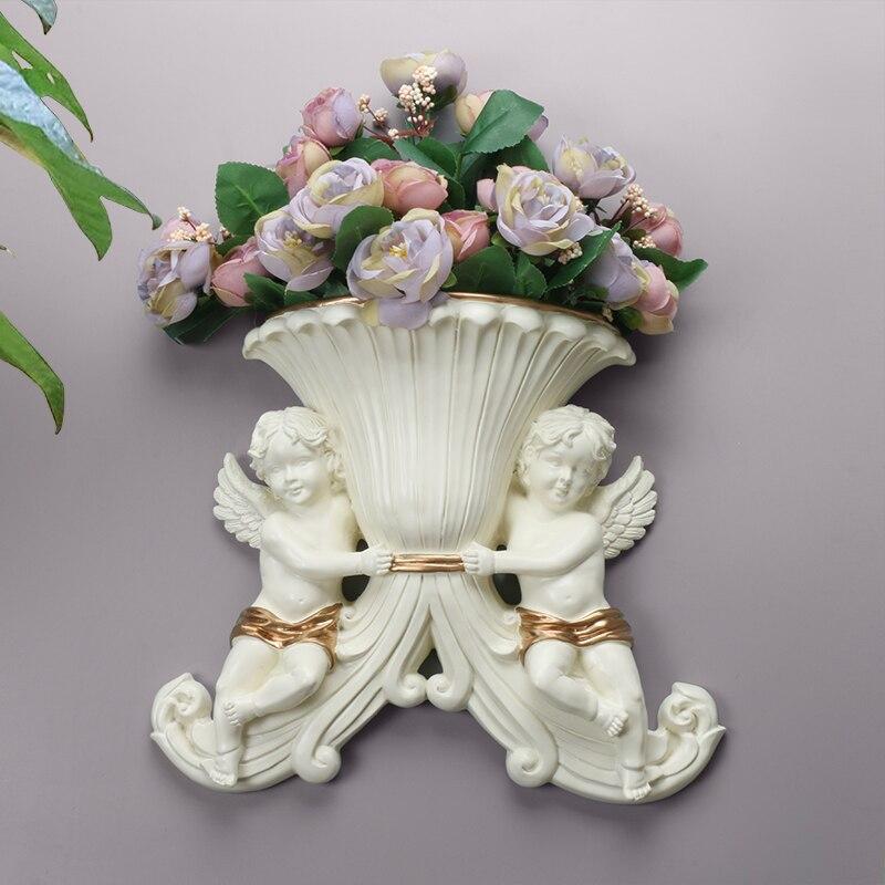 Moderne maison mur résine Double ange Vase décoration murale artisanat salon Simple fond Mural suspendus fleur Badket Mural