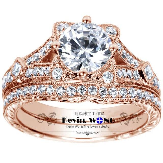 Wedding Set Lovely Cat Design 1 Carat Test Real Lab Grown Diamond Ring Genuine 925 Silver