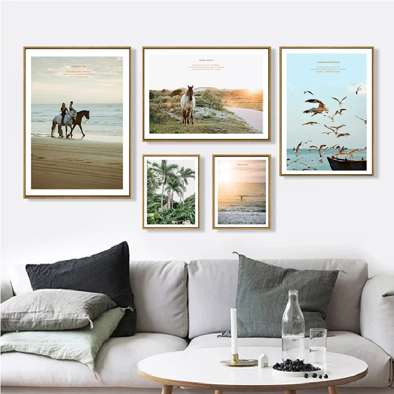 Modern Nordic Peaceful Charming Landscape Sunset Horse Plants Beach Bird Free Canvas Wallpaper Painting Print Livingroom Decor