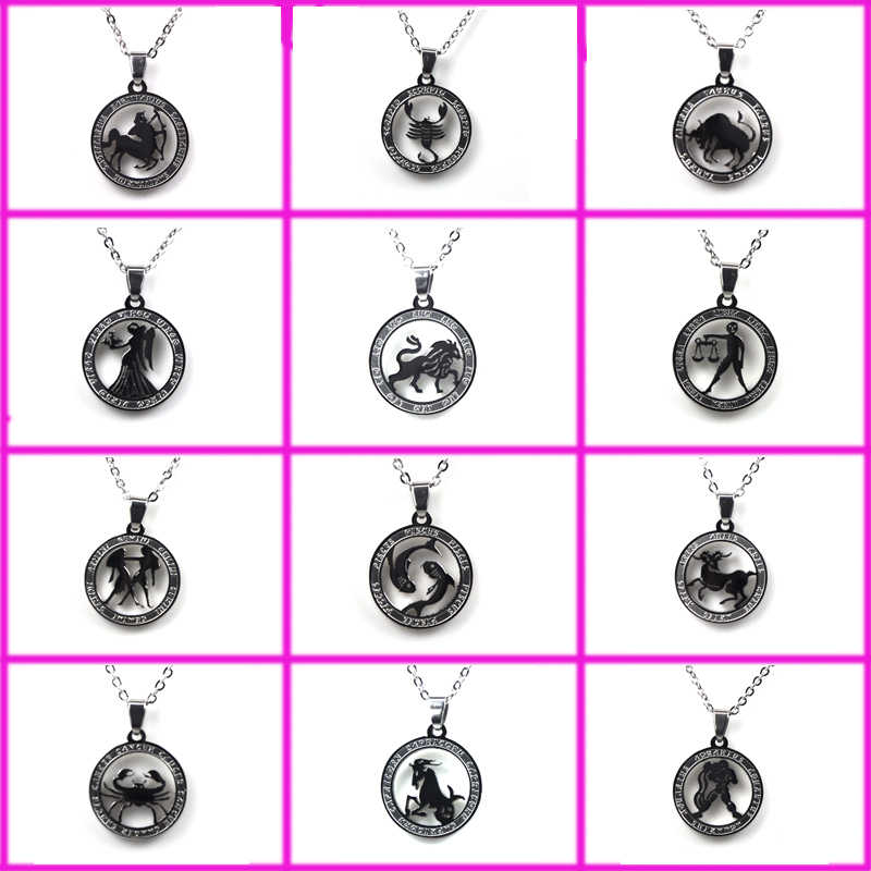 Aibeiou 12 Zodiac Sign Twelve Constellation Steel Pendant Necklace Aquarius Pisces Aries Taurus Gemini Pendant necklace