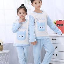 f16a8403e4 Flanell pyjamas für kinder Mode Winter Jungen/Mädchen Warm Pyjama Sets Nette  Cartoon kinder Oansatz Langarm Weichen Nachtwäsche .