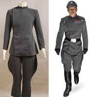Star Wars Imperial Officer Grey Uniform Top Pants For Men Movie Halloween Cosplay Costume Halloween Carnival Men full set