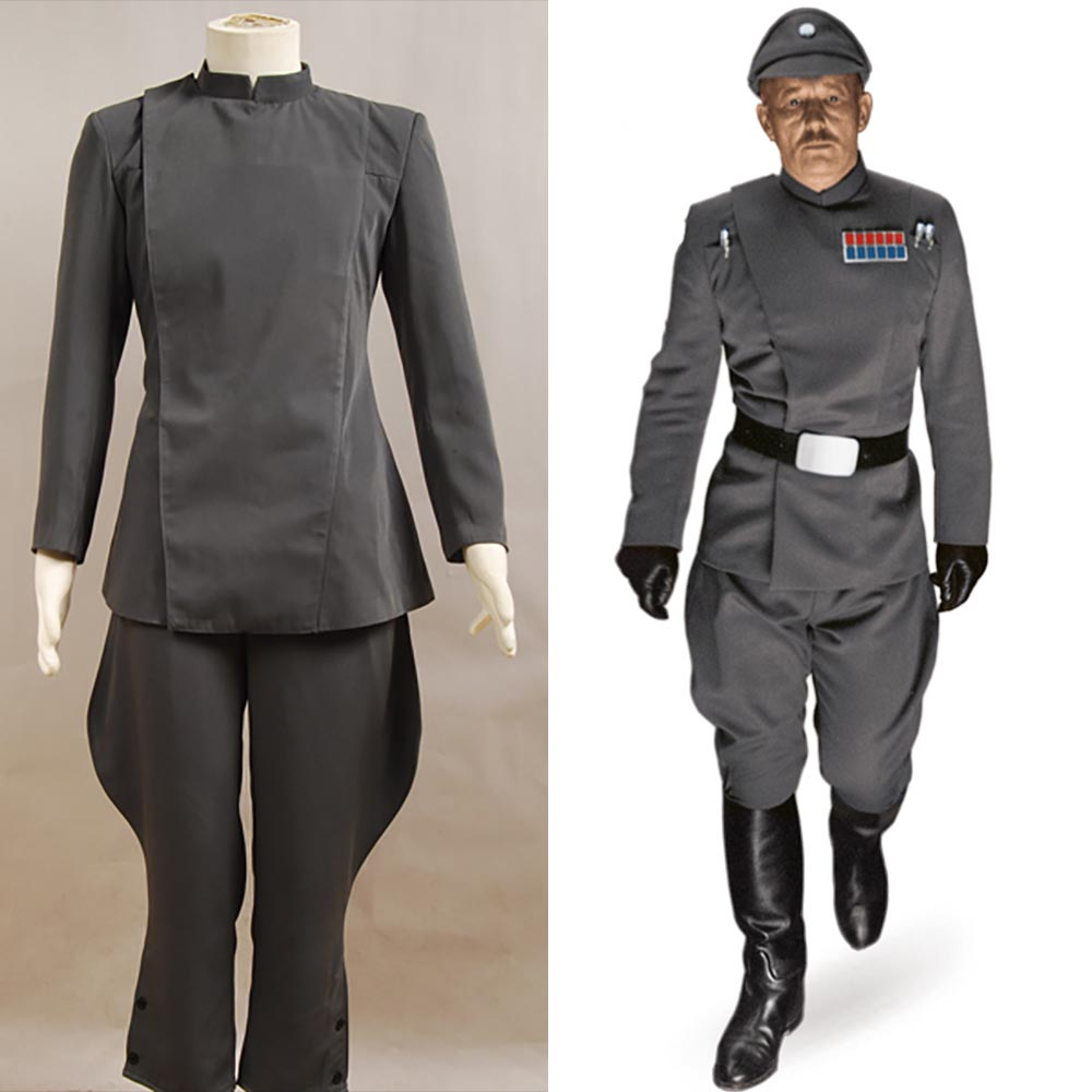 Star Wars Imperial Officer Grey Uniform Top Pants For Men Movie Halloween Cosplay Costume Halloween Carnival Men full set