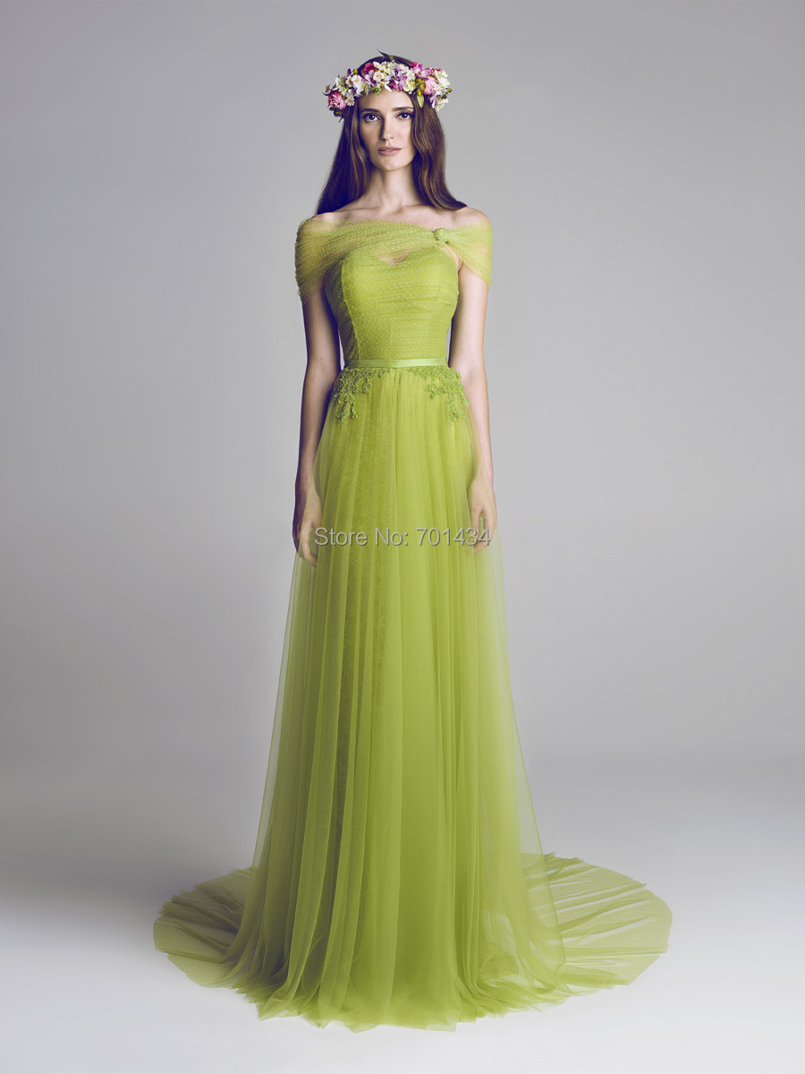 Fashion Designer Olive Green Evening Gown 2014 Soft Tulle Custom ...