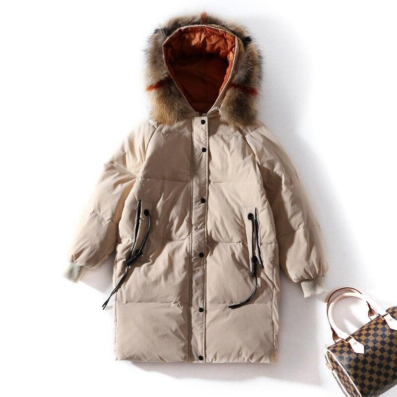 Женская мода whiteduckdown пальто из меха енота с капюшоном теплая зимняя куртка свободный стиль Большие размеры парки Новый 2018