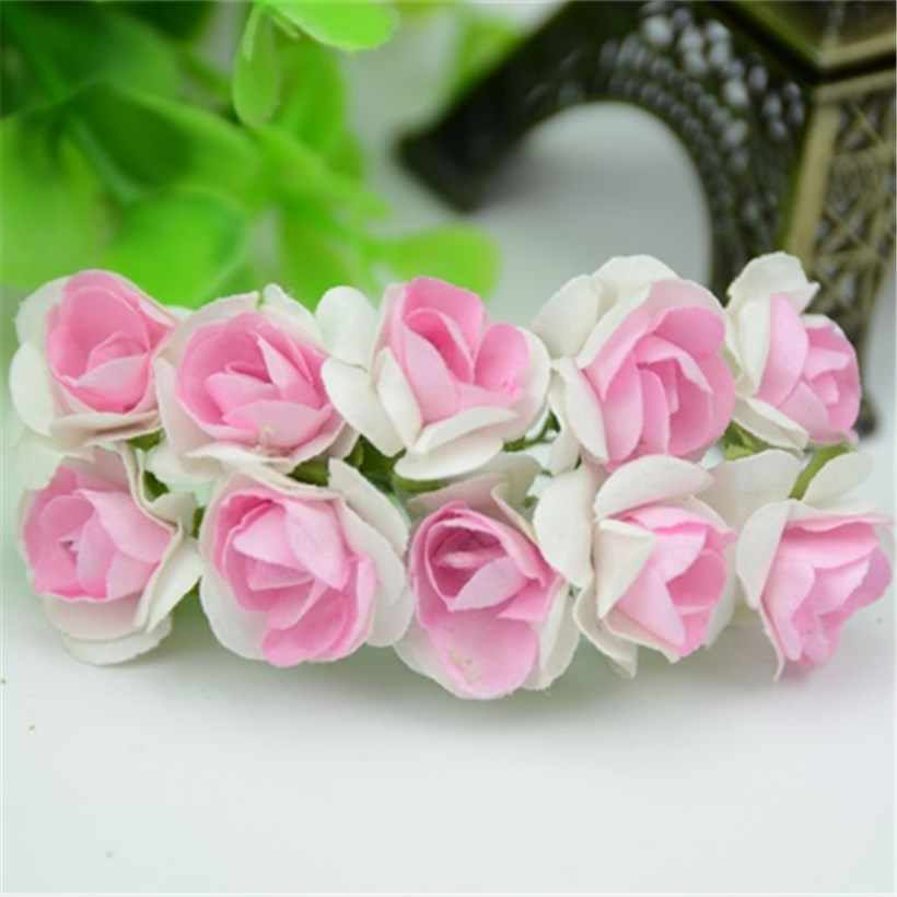 20 pcs/lot Mini papier Rose fait à la main artificielle fleur Bouquet décoration de mariage bricolage couronne cadeau Scrapbooking artisanat fausse fleur