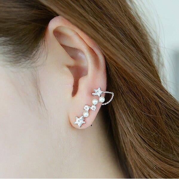 93ea3720e866 Corea del Circón Estrellas Constelación Simulado Perla Pendientes de Clip  para Mujeres Niñas Dulce Pendientes Del