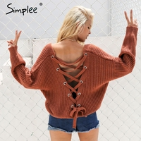 Simplee Sexy Backless Knitting Pullover Fashion Lace Up Autumn Winter Sweater Women Tops Casual Hollow Out