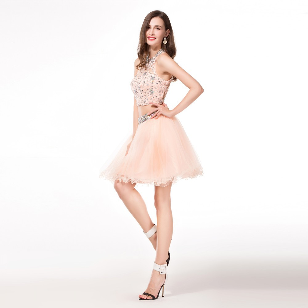 Hot Sale 2 Piece Coral Homecoming Dresses With Beading Crystal