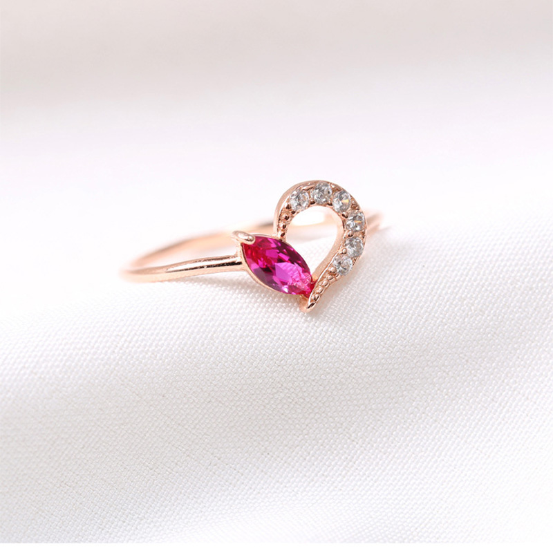 1PC LOT Romantic Rose Gold Color Heart Design Thin Wedding Rings For Lovers Fashion Real 925Sterling Silver Crystal Jewelry in Rings from Jewelry Accessories