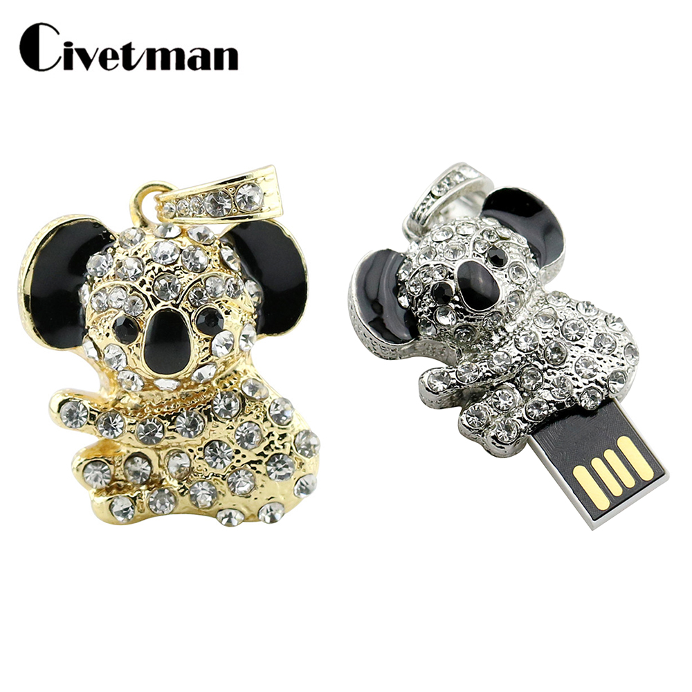 Pen Drive Lovely Animal Koala Pendrive 8GB 16GB 32GB 64GB USB Flash Drive Cute U Disk Necklace USB Creative Memory Stick Gift