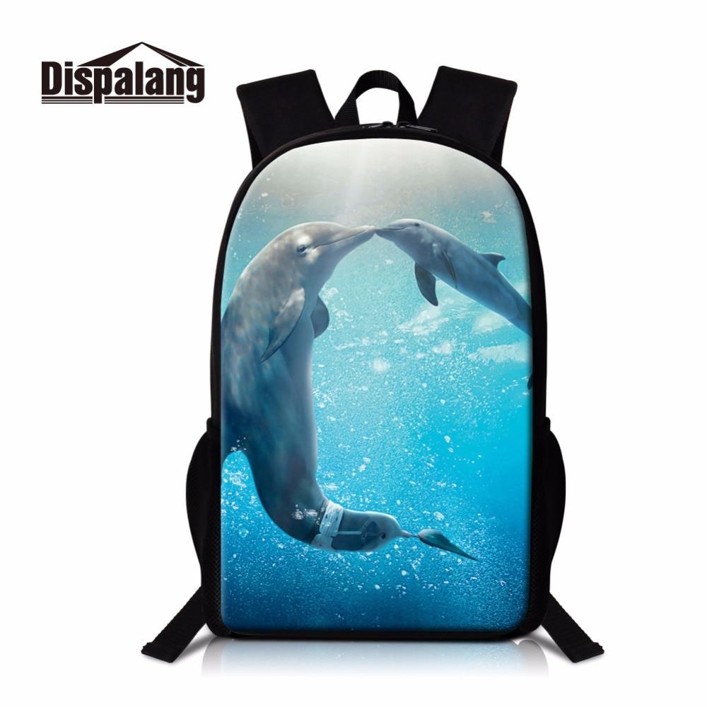 Dispalang Cute Dolphin Print School Backpack for Teen Girls Cool Shark Bookbag Lightweight Back Pack for Children Mochilas boys