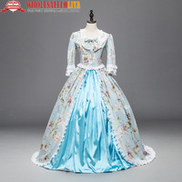 Renaissance Colonial Priness Dress Floral Ball Gown with Long Train Reenactment Dresses