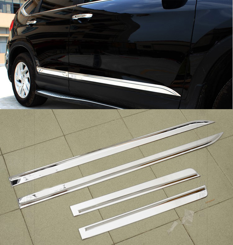 FIT FOR HONDA CRV CR-V 2012 2013 2014 2015 CHROME SIDE DOOR BODY MOLDING TRIM COVER LINE GARNISH PROTECTOR ACCESSORIES 4PCS/SET abs chrome side molding garnish cover trim body kits car styling accessories for jeep grand cherokee 2014 15 16
