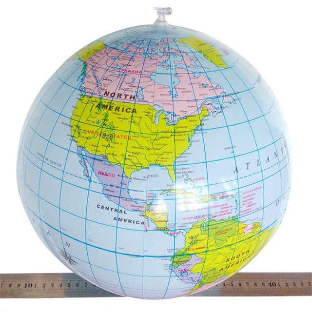 Inflatable Globe World Map. Educational Toys for Children 1 pc 40CM Inflatable World Map Globe Teach  Geography Kids