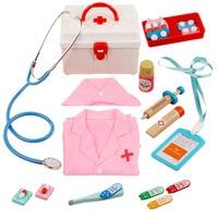 14Pcs Children Pretend Play Medical Kit Role Play Nurse Playset with Nurse Uniform Pink