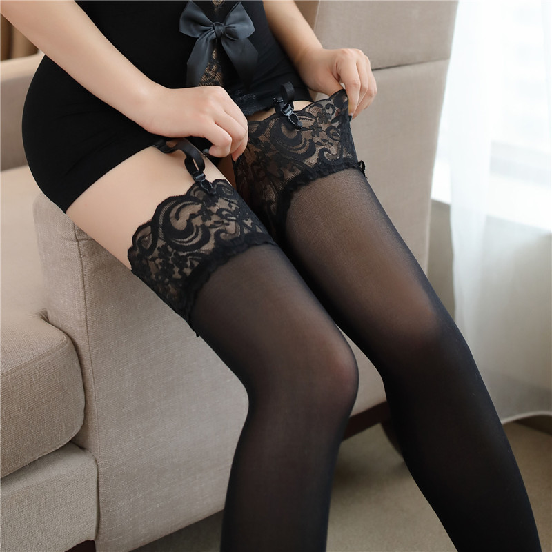 6 Colors Sexy Women's Stockings Lace Top Thigh High Stockings Hosiery Pantyhose Hot Sexy Lingerie Female Elastic Nylon Stockings