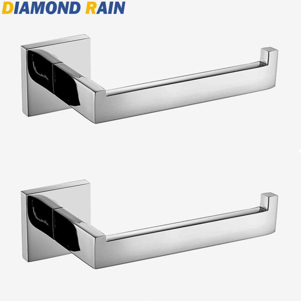 Square Chrome Toilet Paper Holder Contemporary Stainless Steel Tissue Roller Holder Silver Bathroom Wall Mounted Dr110 Soft And Light Paper Holders