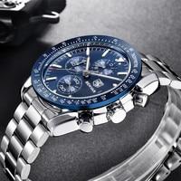 BENYAR ساعة رجال الأعمال Chronogragh كامل الصلب الكوارتز العلامة التجارية الفاخرة غير رسمية 3Bar مقاوم للماء الرياضة الذكور الفضة الأزرق 2019 جديد