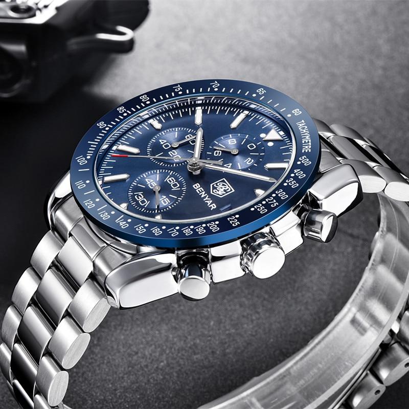 BENYAR Men Watch Business Chronogragh Full Steel Quartz Top Brand Luxury Casual 3Bar Waterproof Sports Male Silver Blue 2019 New