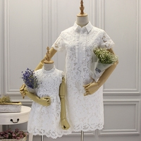 Mother and Daughter Dresses Wedding Clothes Family Matching Clothes T Shirts Lace Wedding Dress cute Mom Girls Vestidos