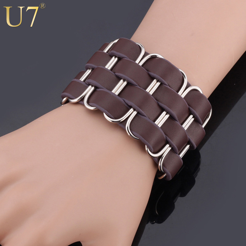 Aliexpress U7 Genuine Leather Bracelets Bangles 19cm 20cm 21cm Trendy Brown Black Color For Men Jewelry H520 From Reliable