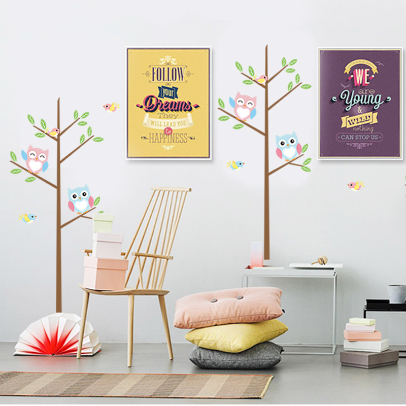 One Tree A Piece animal tree owls birds colorful baby bedroom decor wall sticker removable kids nursery decorative for sofa wall