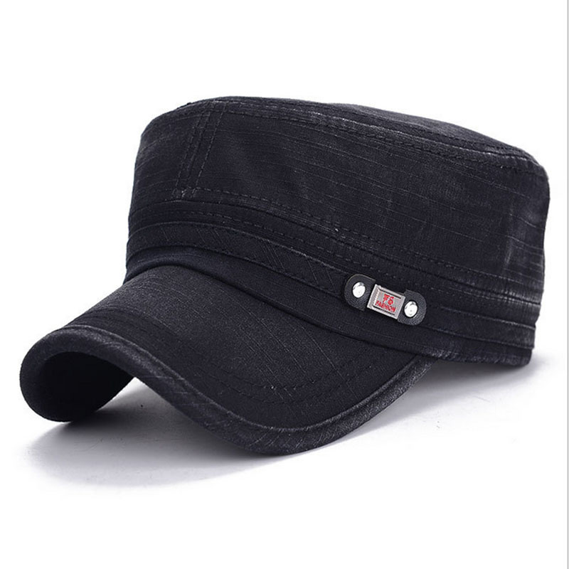 Military Cap Men Women Washed Cotton Flat Top Army Hat Adjustable Gorra Militar Hat Visor Bone Male Vintage Fashion Classic