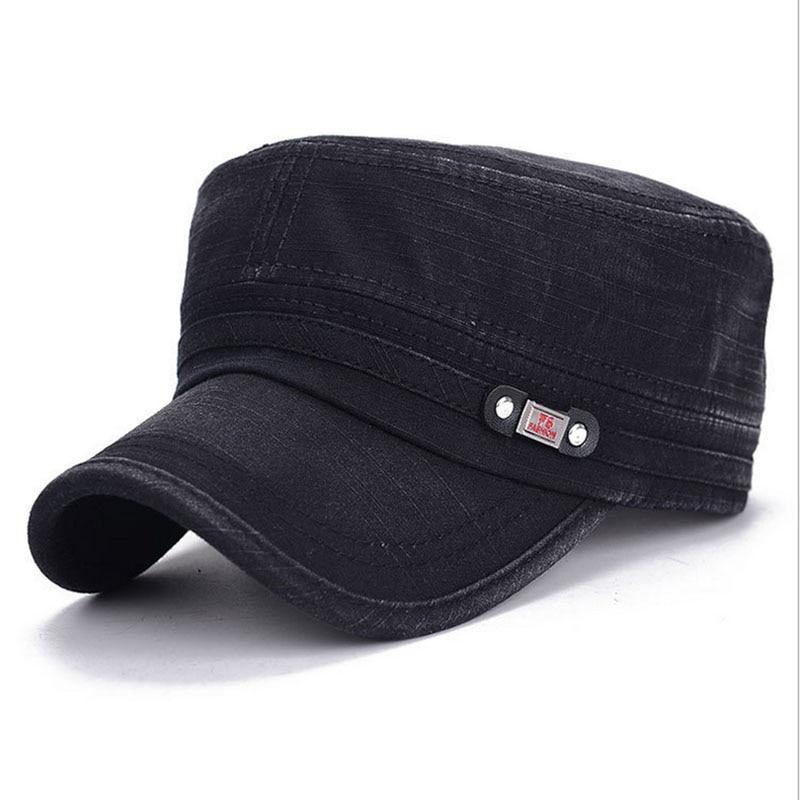 Military Cap Men Women Washed Cotton Flat Top Army Hat Adjustable Gorra Militar Hat Visor Bone Male Vintage Fashion Classic