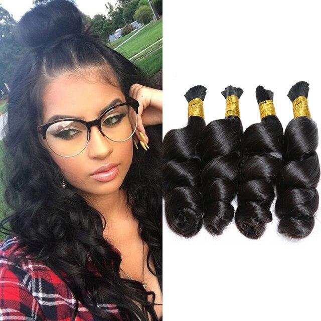 Peruvian Virgin Hair Loose Wave Braiding Human Hair Bulk Loose Curly