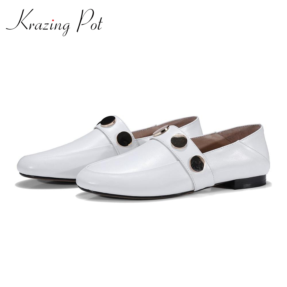Krazing Pot clasics full grain leather low heels shoes woman slip on ladies round toe metal decoration pregnant cozy pumps L1f2 girls and ladies favorite white roller skates with full grain genuine leather dual lane roller skate shoes for adult skating