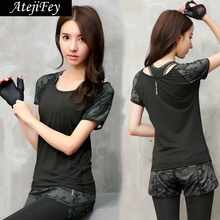 Hot sale Women camouflage Yoga Shirts Spring summer sportswear short sleeves T-shirt running execise workout yoga top shirts