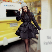 New Arrival Bow Waist Fluffy Skirt A Warm Coat Jacket  Parkas For Women Winter Women Down And Parkas 2016 Long A1