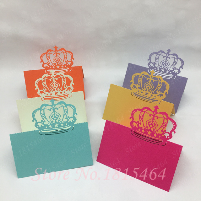 50pcs Laser Cut Crown Place Name Cards Number Cards Paper Wedding